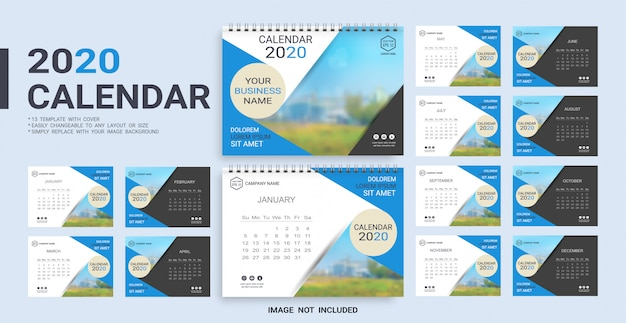 Plantilla calendario de escritorio 2020