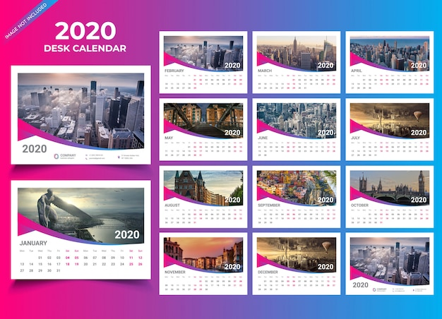 Plantilla de calendario de escritorio 2020