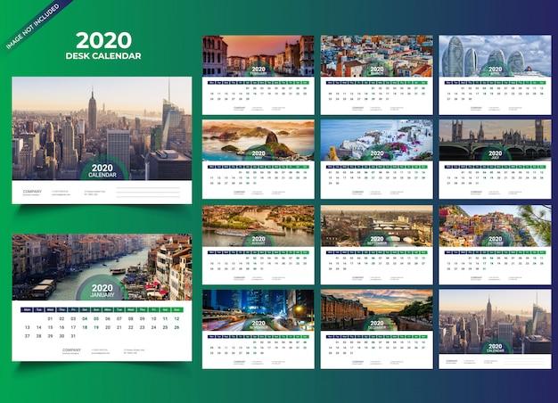 Plantilla de calendario de escritorio 2020