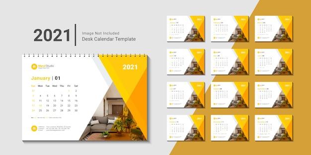 Plantilla de calendario de escritorio 2021 con diseño creativo