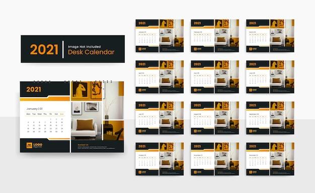 Plantilla de calendario de escritorio 2021 para empresa de negocios corporativos con diseño creativo