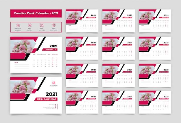 Plantilla de calendario de escritorio 2021
