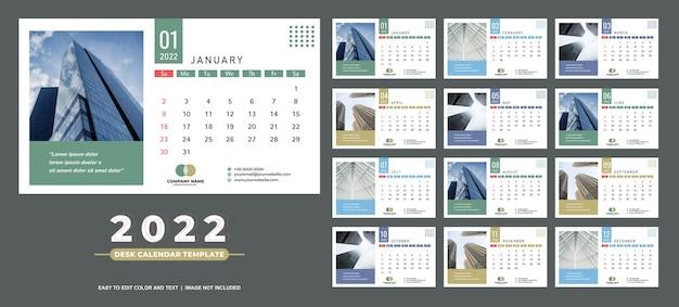 Plantilla de calendario de escritorio 2022 simple y limpio
