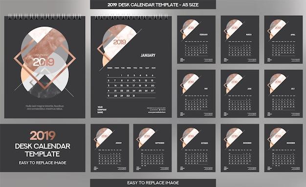 Plantilla de calendario de escritorio de mármol 2019