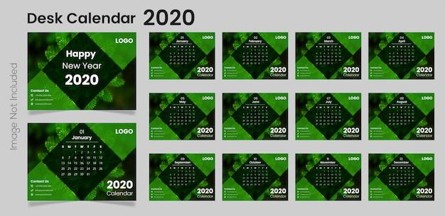 Plantilla de calendario de escritorio moderno 2020
