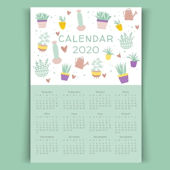 Plantilla de calendario floral 2020 de cactus