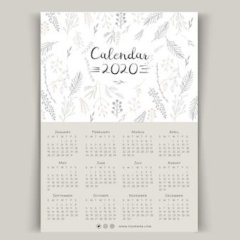 Plantilla de calendario floral 2020 dibujados a mano