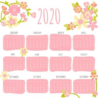 Plantilla de calendario floral 2020