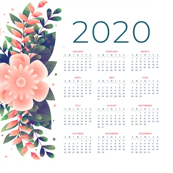 Plantilla de calendario de flores 2020