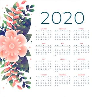 Plantilla de calendario de flores 2020