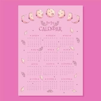 Plantilla de calendario de luna plana 2020