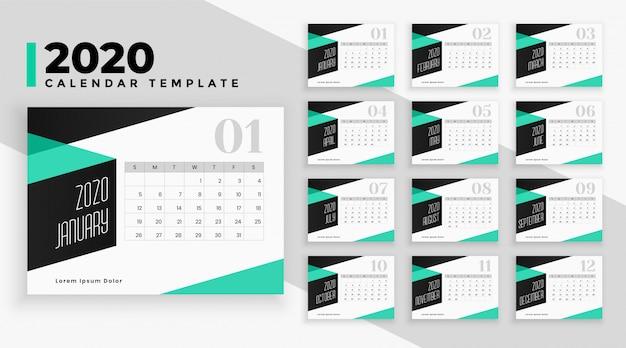 Plantilla de calendario moderno 2020 en estilo geométrico