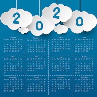 Plantilla de calendario moderno 2020.