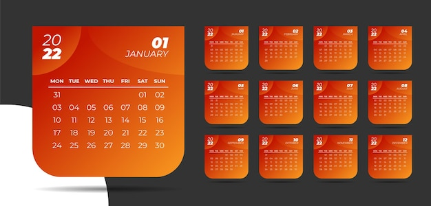 Plantilla de calendario moderno para año nuevo