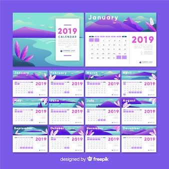 Plantilla de calendario naturaleza 2019
