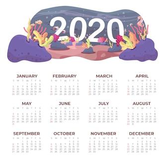 Plantilla de calendario de nature 2020