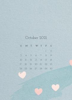 Plantilla de calendario octubre 2021 con textura de papel de acuarela