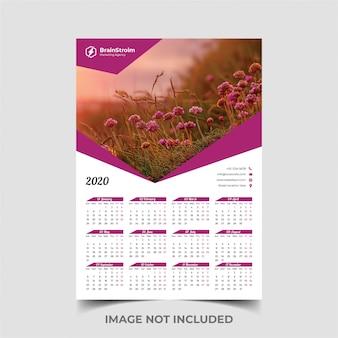 Plantilla de calendario de una página 2020