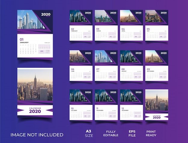 Plantilla de calendario de pared 2020