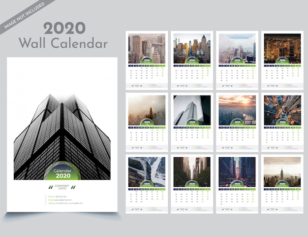 Plantilla de calendario de pared 2020