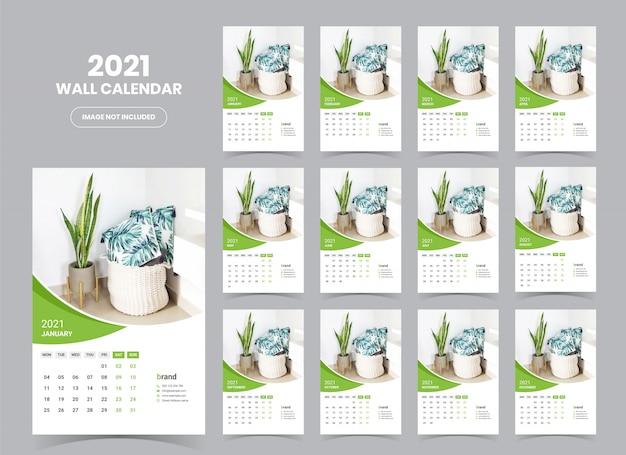 Plantilla calendario de pared 2021