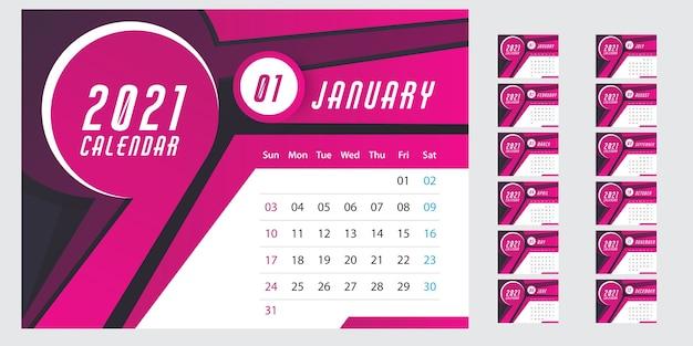 Plantilla de calendario de pared para el año 2021