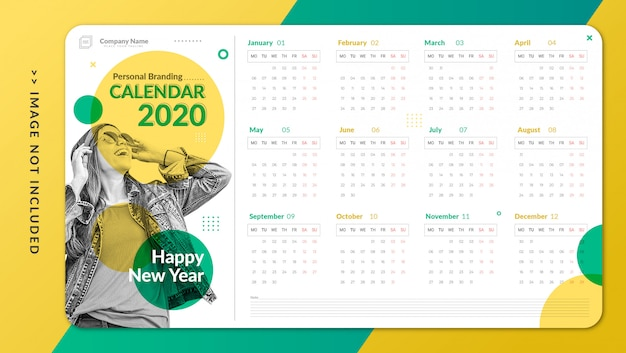 Plantilla de calendario personal minimalista