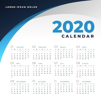 Plantilla de calendario simple estilo empresarial 2020