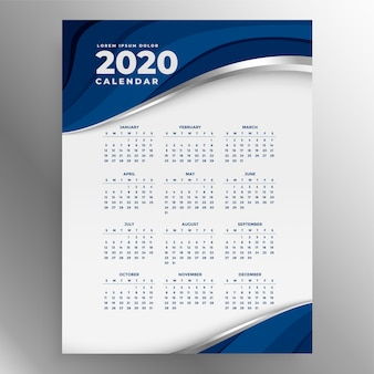 Plantilla de calendario vertical azul 2020