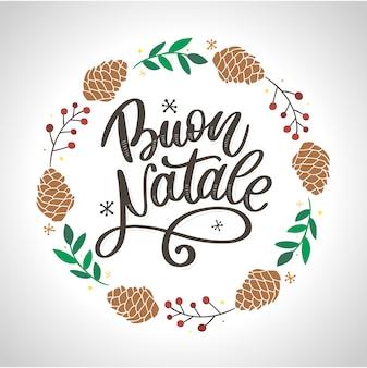 Plantilla de caligrafía buon natale en italiano. tarjeta de felicitación tipografía negra