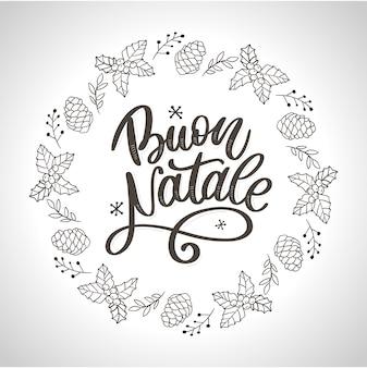 Plantilla de caligrafía buon natale en italiano