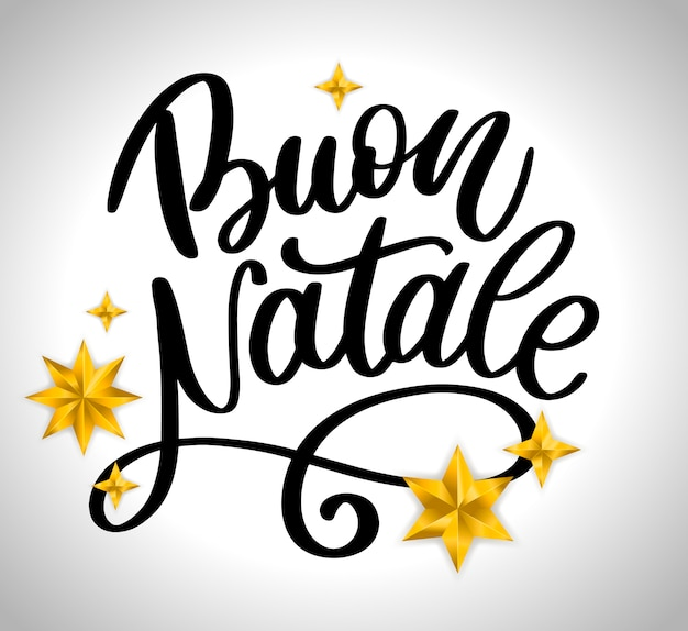 Plantilla de caligrafía de letras de buon natale