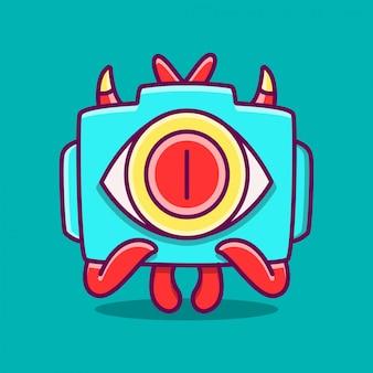 Plantilla de cámara de monstruo de dibujos animados kawaii doodle