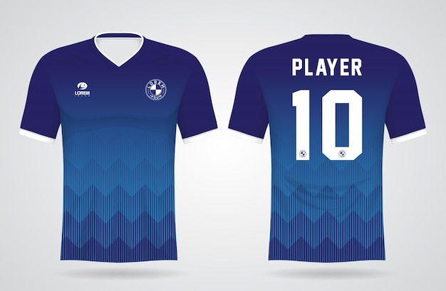 Plantilla de camiseta azul deportiva para uniformes de equipo y diseño de camiseta de fútbol