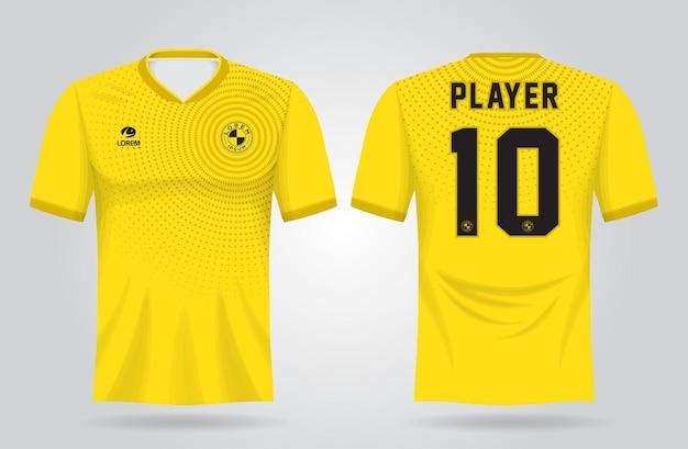 Plantilla de camiseta deportiva amarilla para uniformes de equipo y diseño de camiseta de fútbol