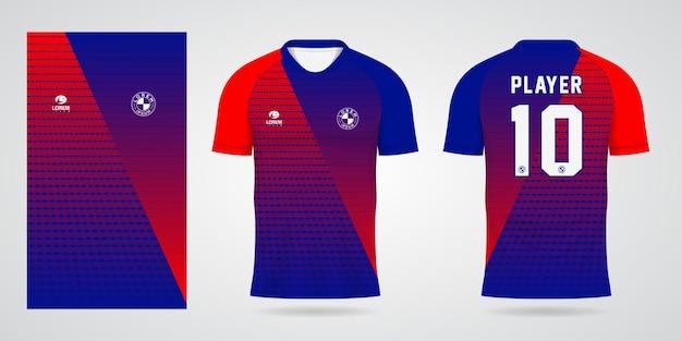 Plantilla de camiseta deportiva azul roja para uniformes de equipo y diseño de camiseta de fútbol