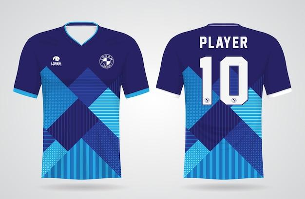 Plantilla de camiseta deportiva azul para uniformes de equipo y diseño de camiseta de fútbol