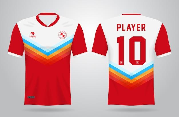 Plantilla de camiseta deportiva blanca roja para uniformes de equipo