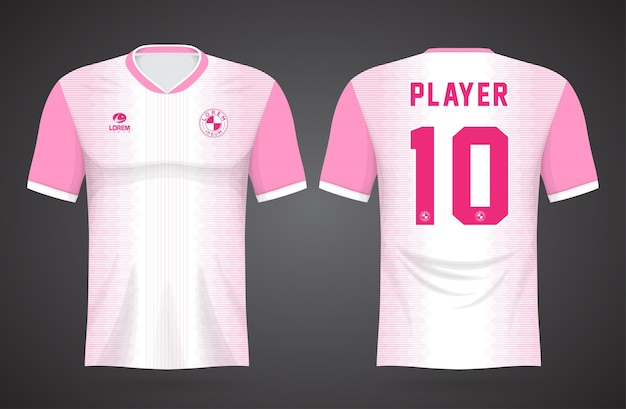 Plantilla de camiseta deportiva blanca y rosa para uniformes de equipos y diseño de camisetas de fútbol