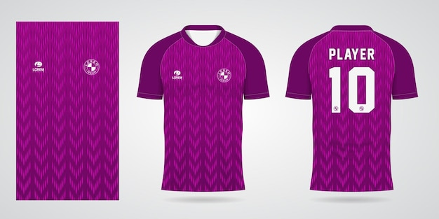 Plantilla de camiseta deportiva morada para uniformes de equipo y diseño de camiseta de fútbol