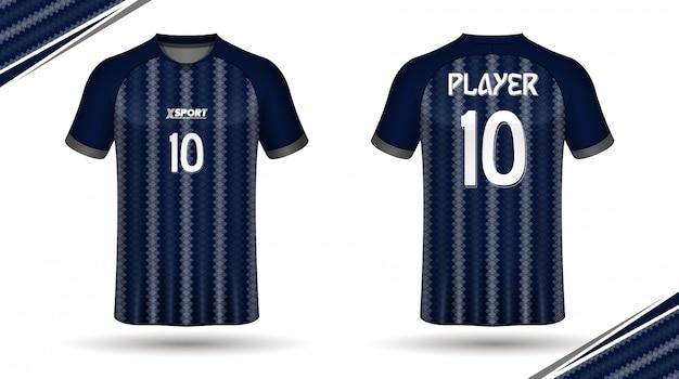 Plantilla de camiseta de fútbol atrás y frontal