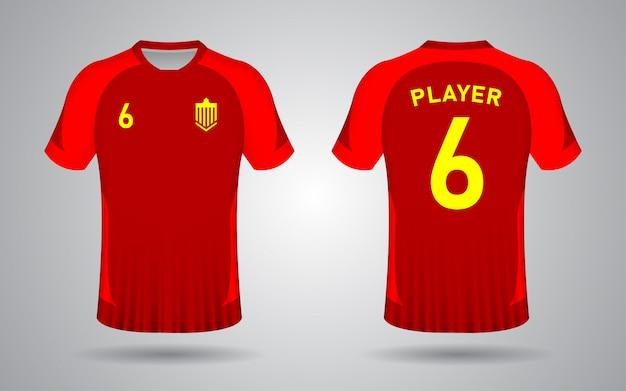 Plantilla de camiseta de fútbol roja