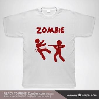 Plantilla para camiseta con zombies