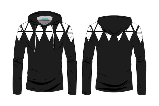 Plantilla de camisetas con capucha. diseño de chaqueta deportiva de manga larga con capucha. chaqueta de invierno para hombres y mujeres. sudadera con capucha de dibujo técnico de moda con vista frontal y posterior de track.