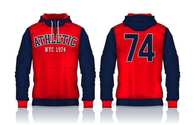 Plantilla de camisetas con capucha diseño de chaqueta, vista frontal y posterior de la pista de ropa deportiva.