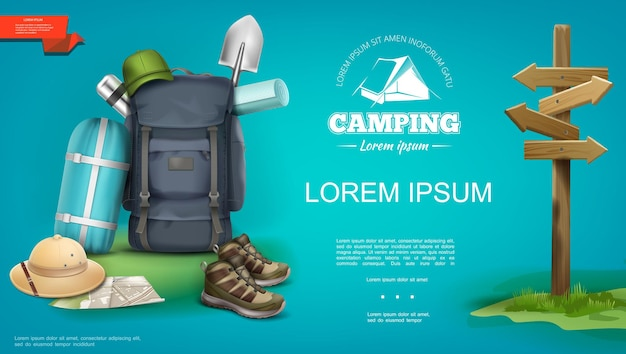 Plantilla de campamento de verano realista con mochila saco de dormir sombrero de panamá zapatillas de deporte mapa pala termo letrero de madera ilustración