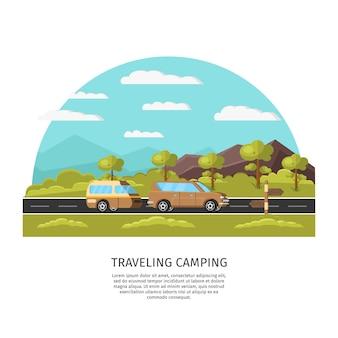 Plantilla de campamento de viaje ligero
