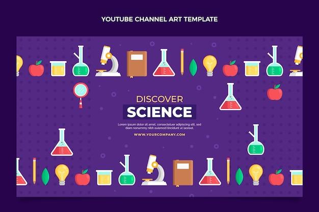 Plantilla de canal de youtube de ciencia de estilo plano