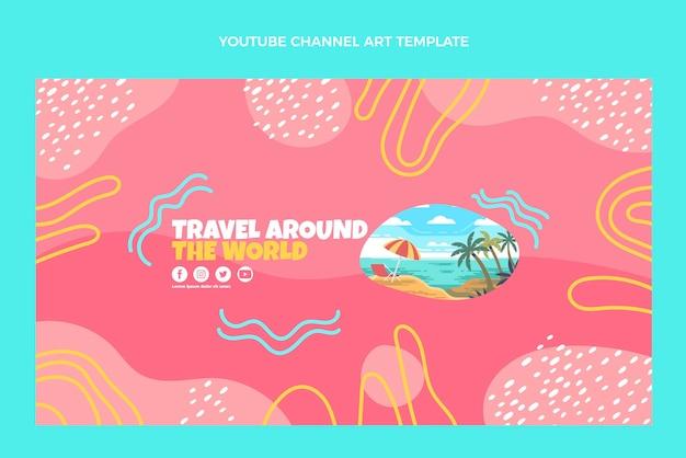 Plantilla de canal de youtube de viajes de diseño plano