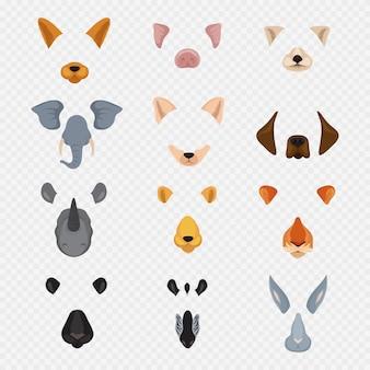 Plantilla de caras de animales de chat de video móvil